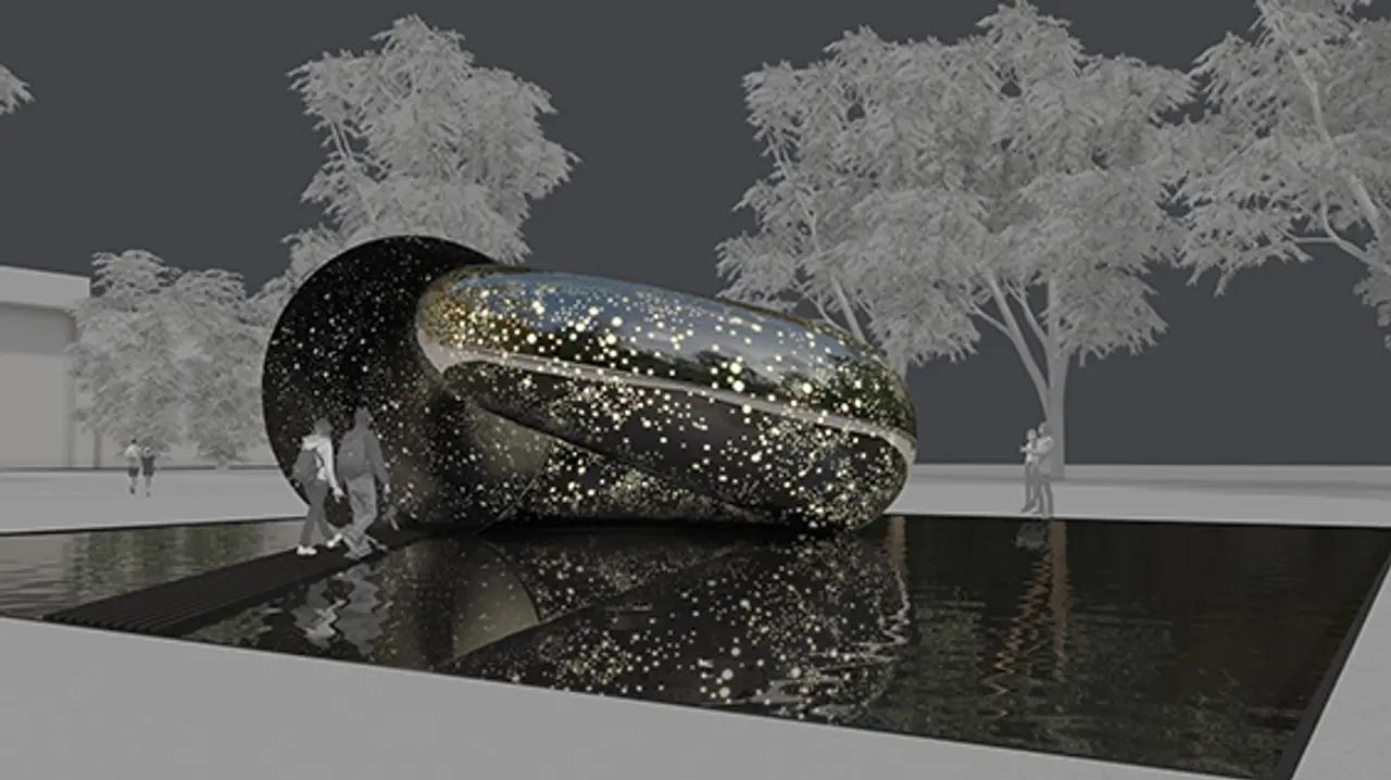 Ночью внутреннее освещение Ouroboros будет видно через тысячи крошечных перфораций